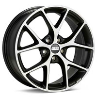 BBS SR 17x7.5 5x100 ET48 Satin Black Diamond Cut Face Wheel -70mm PFS/Clip Required