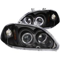 ANZO 1996-1998 Honda Civic Projector Headlights w/ Halo Black