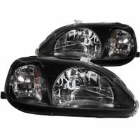 ANZO 1999-2000 Honda Civic Crystal Headlights Black