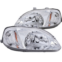 ANZO 1999-2000 Honda Civic Crystal Headlights Chrome