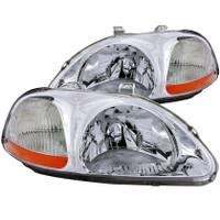 ANZO 1996-1998 Honda Civic Crystal Headlights Chrome