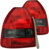 ANZO 1996-2000 Honda Civic Taillights Red/Smoke (Hatchback)