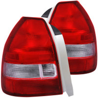 ANZO 1996-2000 Honda Civic Taillights Red/Clear (Hatchback)
