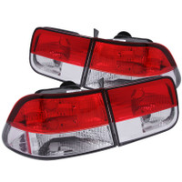 ANZO 1996-2000 Honda Civic Taillights Red/Clear (Crystal)