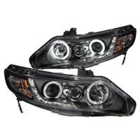 ANZO 2006-2011 Honda Civic Projector Headlights w/ Halo Black (CCFL) - 4 Door
