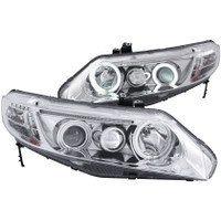ANZO 2006-2011 Honda Civic Projector Headlights w/ Halo Chrome (CCFL) - 4 Door