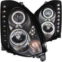 ANZO 2003-2007 Infiniti G35 Projector Headlights w/ Halo Black (CCFL) (HID Compatible) - 2 Door