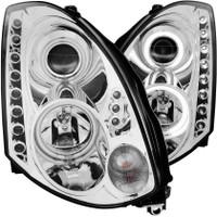 ANZO 2003-2007 Infiniti G35 Projector Headlights w/ Halo Chrome (CCFL) (HID Compatible) - 2 Door