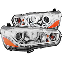 ANZO 2008-2015 Mitsubishi Lancer Projector Headlights w/ Halo Chrome (CCFL)