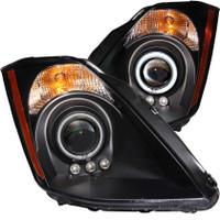 ANZO 2003-2005 Nissan 350Z Projector Headlights w/ Halo Black (CCFL)