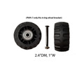 "Front and Back Wheels : PWH-7(2.4""DM/1""W) / A quantity of 1 is 2 wheels/Only fits in big wheel bracket"