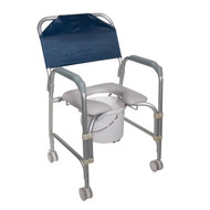 Lightweight Portable Shower Chair Commode with Casters - 11114kd-1