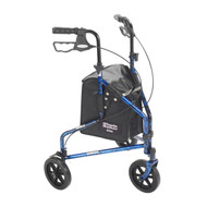 3 Wheel Flame Blue Rollator Walker with Basket Tray and Pouch - 10289bl