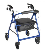 Blue Rollator Walker with Fold Up and Removable Back Support and Padded Seat - r726bl