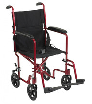 Lightweight Red Transport Wheelchair - atc19-rd
