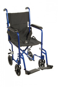 Lightweight Blue Transport Wheelchair - atc19-bl