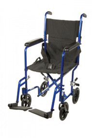 Lightweight Blue Transport Wheelchair - atc17-bl