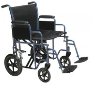 Bariatric Heavy Duty Blue Transport Wheelchair with Swing Away Footrest - btr20-b