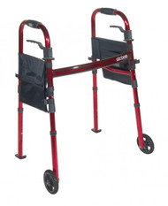 "Portable Folding Travel Walker with 5"" Wheels and Fold up Legs - rtl10263kdr"