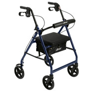 Aluminum Rollator Rolling Walker with Fold Up and Removable Back Support and Padded Seat, Blue
