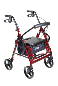 Duet Dual Function Transport Wheelchair Rollator Rolling Walker, Burgundy