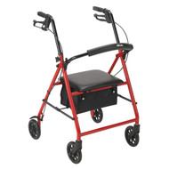 "Rollator Rolling Walker with 6"" Wheels, Red"