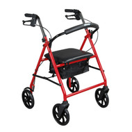 "Steel Rollator Rolling Walker with 8"" Wheels, Red"