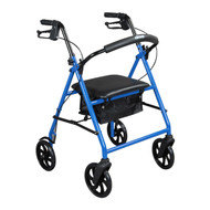 "Steel Rollator Rolling Walker with 8"" Wheels, Blue"