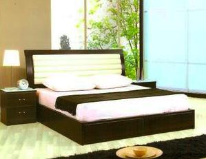 Modern leather platform bed