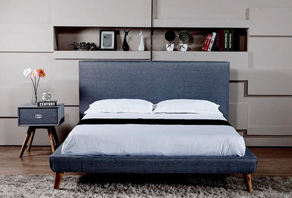 Modern fabric platform bed