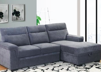 This sofa bed is made of gray linen.