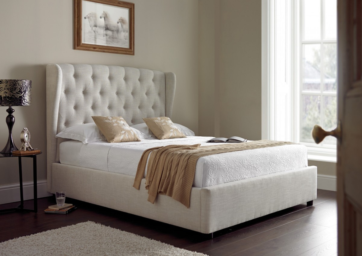 K77 Fabric Lift Up Storage Bed High Sun Mattress