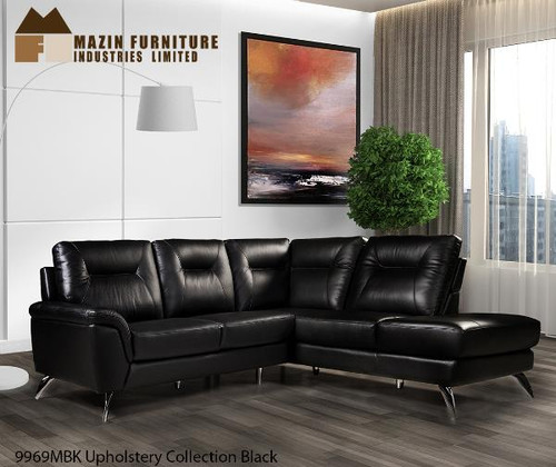 ... Top Grain Leather Sectional Sofa Black. Image 1