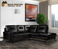 Mazin 9969 top grain black leather sectional sofa