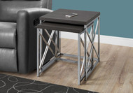 MS 3226 Grey modern end table with chrome metal base ( 2 pc set)