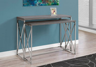 MS 3227 Grey modern accent table with chrome metal base ( 2 pc set)