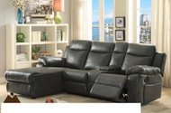 Mz 9110 leather sectional sofa with recliner (black, grey and dark brown)