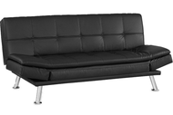 Niles Black Leather Futon Lounger / Sofa Bed