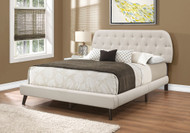 I 5981 Queen beige linen platform bed with brown wood legs
