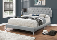 I 5980 Queen grey linen platform bed with chrome legs