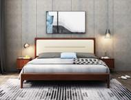 A901-solid wood queen bed w/ padded headboard- Walnut