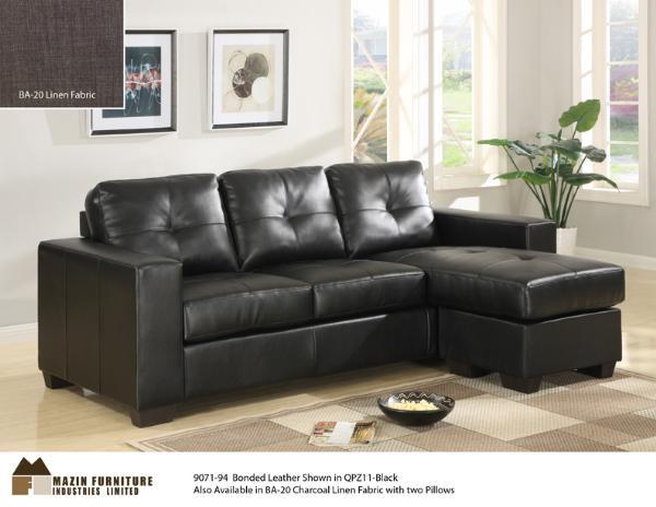 Mazin 9071 black leather sofa set with chaise - High Sun Mattress