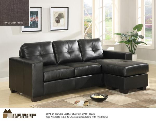 ... Black Leather Sofa Set With Chaise. Image 1