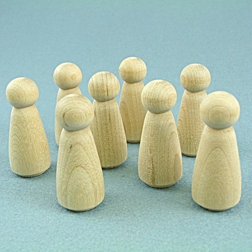 Wood Peg Dolls - Set of Female