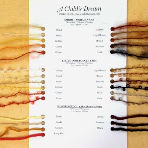 Doll Hair Yarn Swatch Card