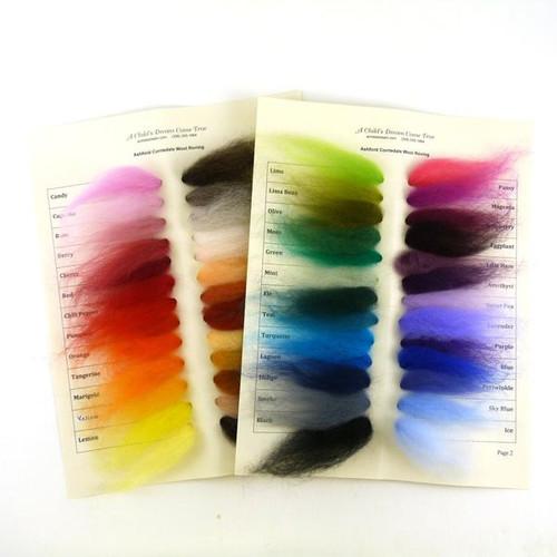 Corriedale Wool Roving - Sample Card Set