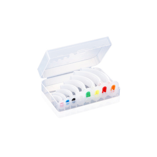 Set of 8 Coloured Guedel Airways in a clear compact hard plastic carrying case.