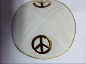 Gold on White Double Peace Sign