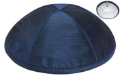 Navy Raw Silk Kippah