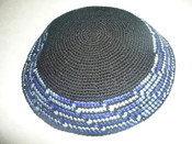 #L Black Kippah w/ Blue Dash Border